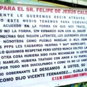 """Con mantas, el narco reprocha a Calderón """"cómo nos trató y el dolor que nos causó"""""""