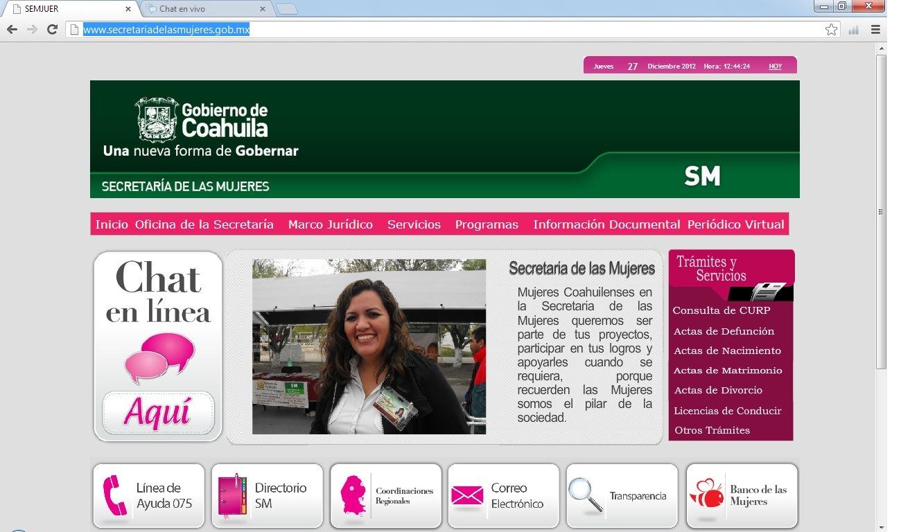 Abre su página web la Secretaria de las Mujeres