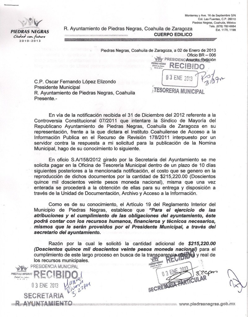 Cobra el Ayuntamiento de Piedras Negras a ciudadano 215 mil 220 pesos  por copia de nómina