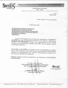 Circular emitida por el SNTE en Coahuila