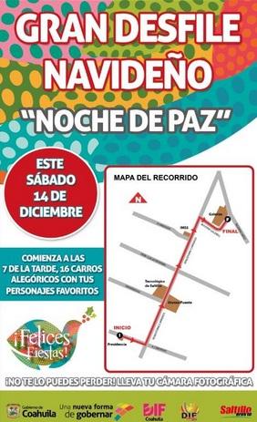 Cerrarán calles el sábado por desfile navideño