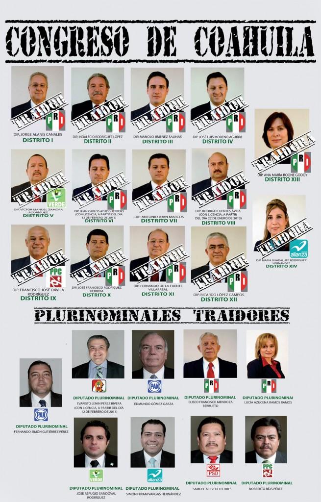 """Coloca Morena a legisladores coahuilenses en """"muro de la ignominia"""""""