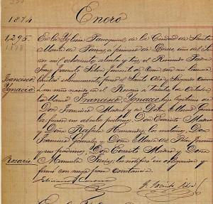 Acta de nacimiento de Francisco I. Madero