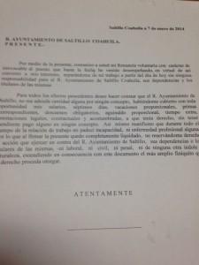 La carta de renuncia que firman los despedidos fue redactada por las autoridades municipales