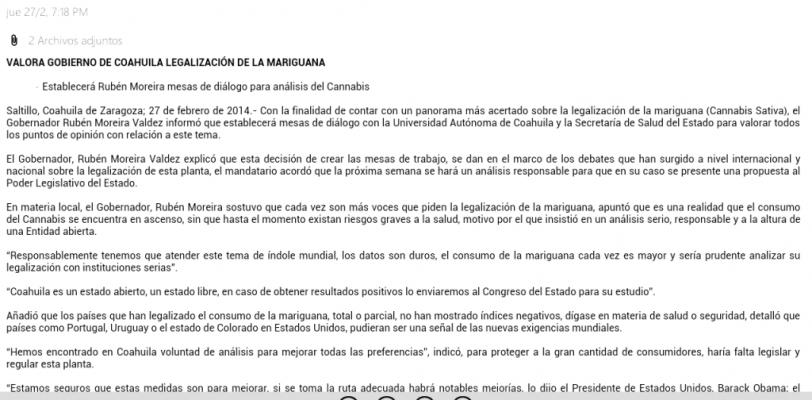 Con cuenta apócrifa intentan desvirtuar postura de RMV sobre legalización de la mariguana