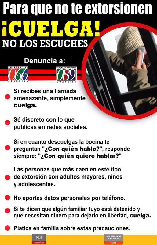 Presentan en Coahuila campaña contra la extorsión
