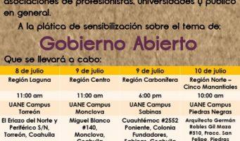 Realizarán pláticas de sensibilización de Gobierno Abierto en las regiones de Coahuila
