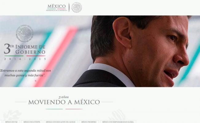 Peña Nieto difunde sitio web para Tercer Informe de Gobierno