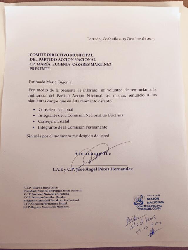 El ex alcalde de Torreón José Ángel Pérez renuncia a militancia del PAN