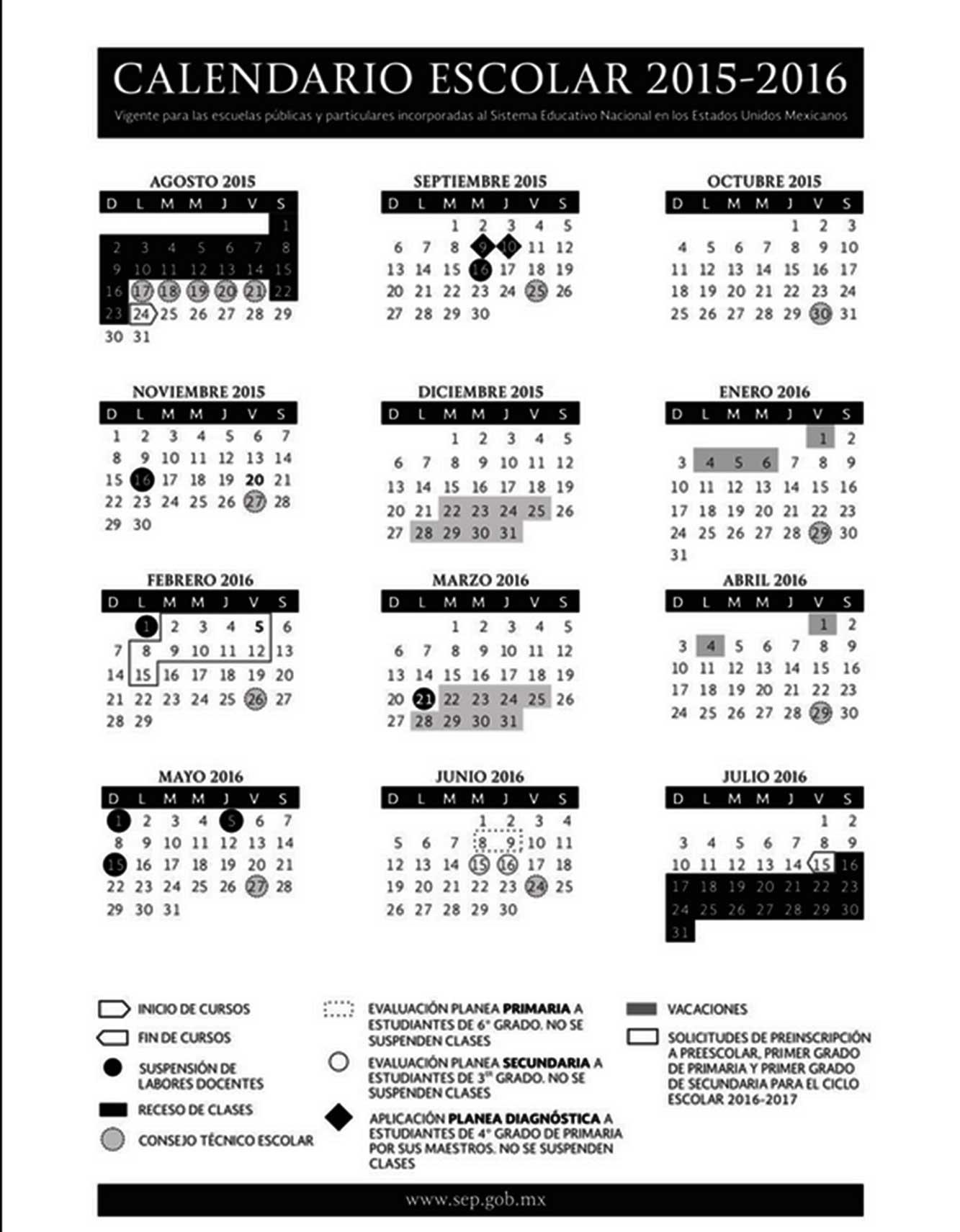 Conoce el calendario escolar para 2016 con sus puentes incluídos
