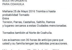 Desestima Protección Civil de Coahuila alerta de tornados en redes sociales