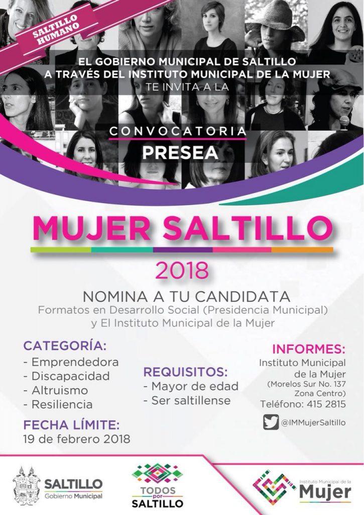 Abre Municipio convocatoria para la Presea Mujer Saltillo 2018