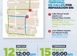Municipio de Saltillo informa sobre cierre temporal de calles Aldama y Acuña en la zona centro