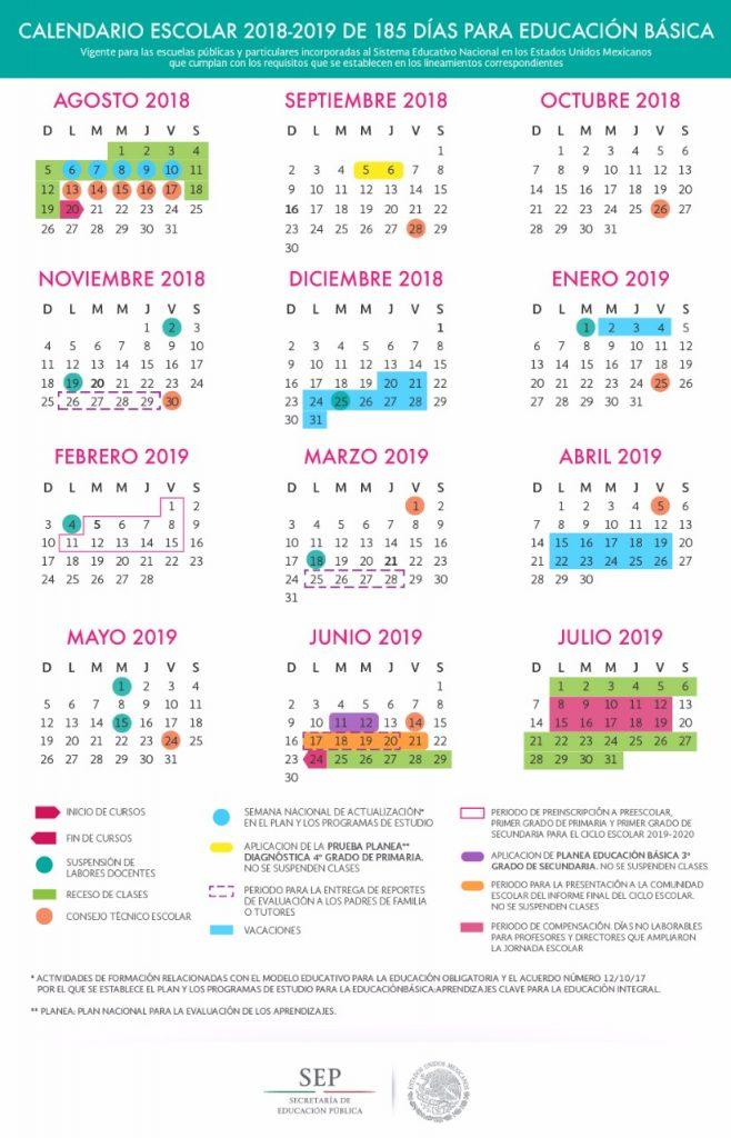 "Aplica cuatro ""puentes"" calendario escolar 2018-2019"