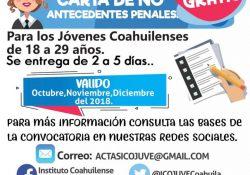 Sin costo, jóvenes coahuilenses pueden obtener la carta de no antecedentes penales