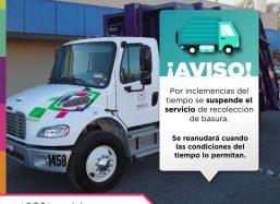 Por seguridad, se suspende servicio de recolección de basura