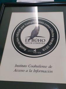 Recibe el ICAI Ratificación por Cumplimiento como Oficina Verde 2019 de parte del Gobierno del Estado