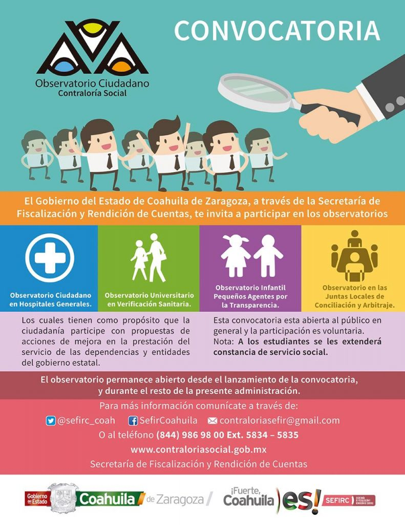 Gobierno de Coahuila invita a formar parte de los Observatorios Ciudadanos