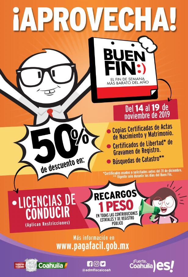 Coahuila invita a aprovechar los descuentos del Buen Fin 2019