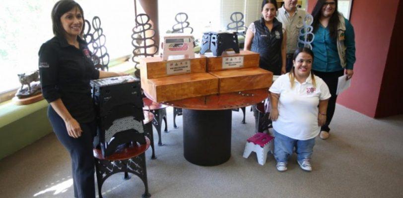Instalan DIF Saltillo y Museo del Desierto escalón universal para gente pequeña