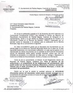 Solicitud del ciudadano al Ayuntamiento de Piedras Negras