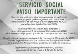 Abierto el proceso de registro de aspirantes y dependencias para el servicio social del periodo agosto-diciembre de 2020