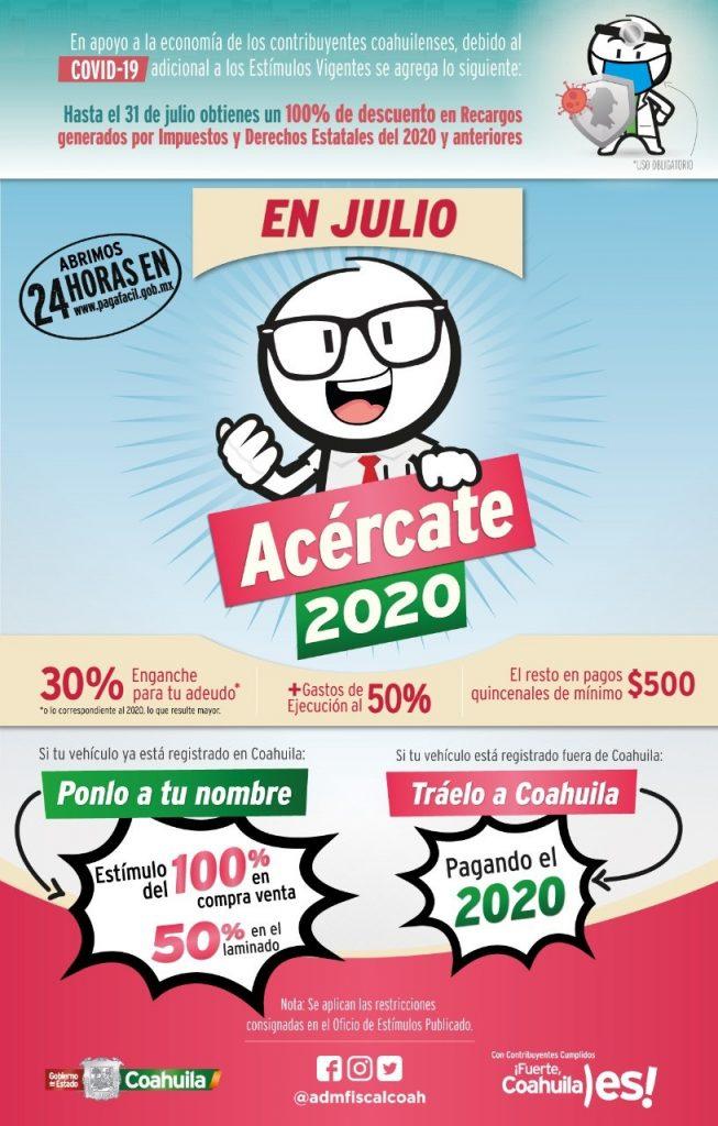 """En julio """"Acércate"""" y aprovecha los descuentos de control vehicular en Coahuila"""