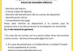 Informa UAdeC el proceso para reembolso de pagos de examen médico y ajuste de cuotas anuales de inscripción