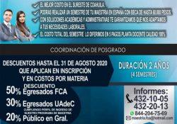 Convocan a cursar la maestría en administración en FCA unidad Saltillo