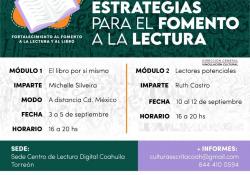 Cultura Coahuila fortalece al fomento a la lectura y el libro