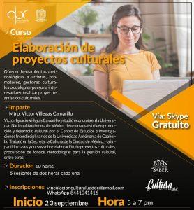 """Participa en la UAdeC y entra al curso en línea """"elaboración de proyectos culturales"""""""