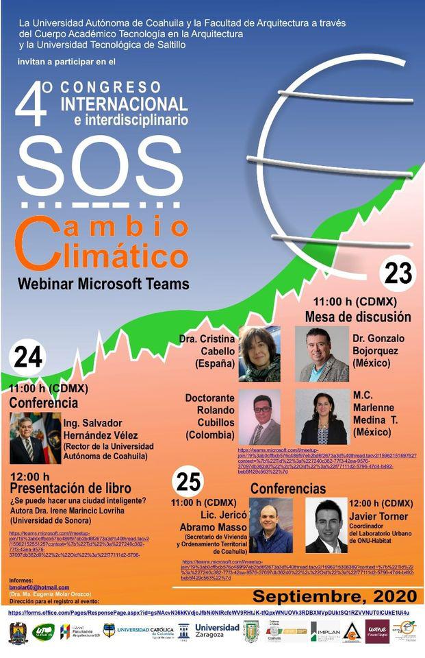 Invitan al cuarto congreso internacional e interdisciplinario S.O.S cambio climático