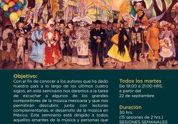 """Participa en el seminario """"Música Mexicana, cuatro siglos de historia"""""""