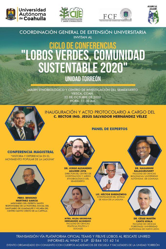 """Invita extensiónuniversitaria de la UAdeC al ciclo de conferencias """"lobosverdes, comunidad sustentable 2020"""""""