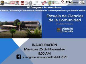 """Invita Escuela de Ciencias de la Comunidad al IV Congreso Internacional """"Familia, Escuela, Comunidad; Problemas Contemporáneos y Cambio Social"""""""