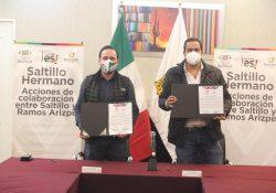 Firman Manolo y Chema Morales convenio Saltillo Hermano
