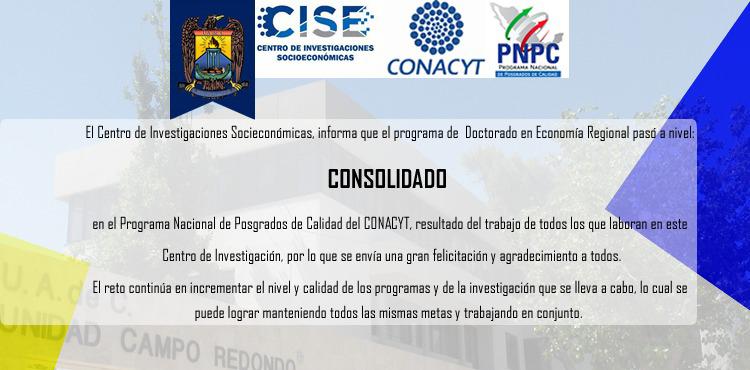 Reconoce PNPC a Doctorado en Economía Regional como un Programa Consolidado