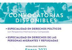 Invita UAdeC a cursar la Especialidad en Derechos Políticos con Perspectiva Internacional y Comparada y en Derechos de las Personas Migrantes y Refugiadas
