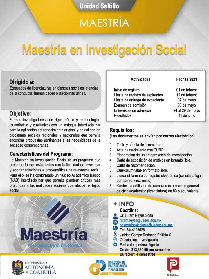 Convoca Facultad de Psicología de la UAdeC a estudiar la Maestría en Investigación Social