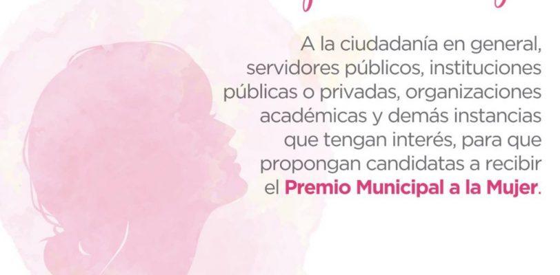 Entregará Ayuntamiento Premio Municipal a la Mujer 2021
