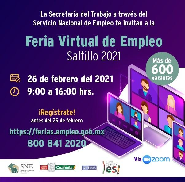 Feria Virtual del Empleo para Saltillo ofrecerá 600 oportunidades