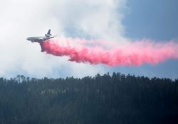 Reporta Coahuila que avión DC10 realiza descargas de agua con retardante de fuego en 'La Pinalosa'