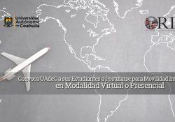 Convoca UAdeC a sus estudiantes a postularse para movilidad internacional en modalidad virtual o presencial