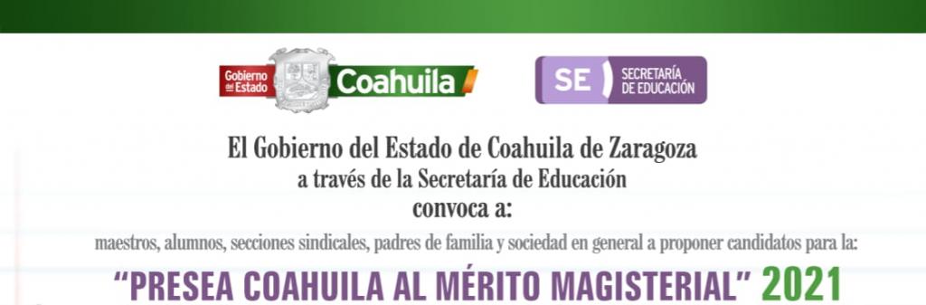 Llaman a reconocer a docentes a través de la Presea Coahuila al Mérito Magistral 2021