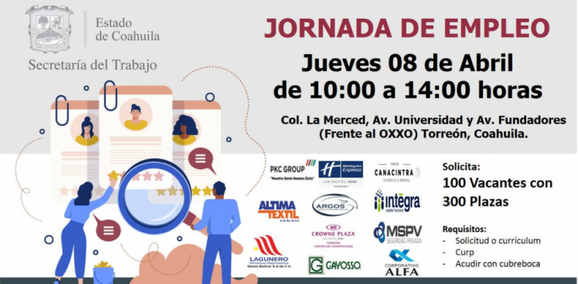 Secretaría del Trabajo de Coahuila desarrollará Jornada de Empleo en Torreón