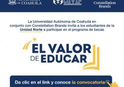 Convoca UAdeC a estudiantes de la Unidad Norte a postularse para becas Constellation Brands