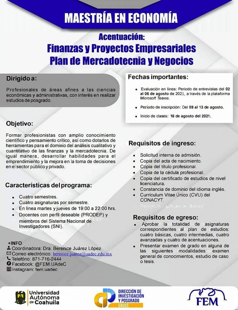 Especialízate en Finanzas y Proyectos Especiales con la Maestría en Economía que ofrece la FEM Unidad Torreón