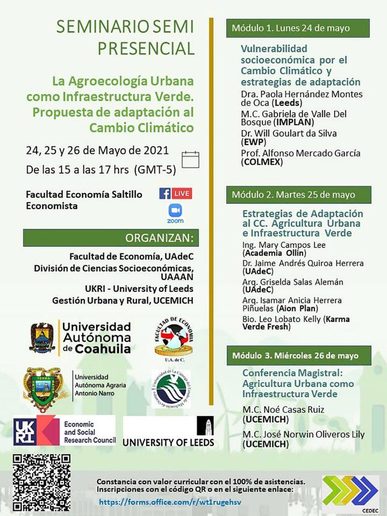 """Invita UAdeC al seminario semipresencial """"La Agroecología Urbana como Infraestructura Verde, Propuesta de Adaptación al Cambio Climático"""""""