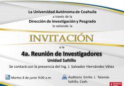 Realizará UAdeC la 4ta Reunión de Investigadores en la Unidad Saltillo
