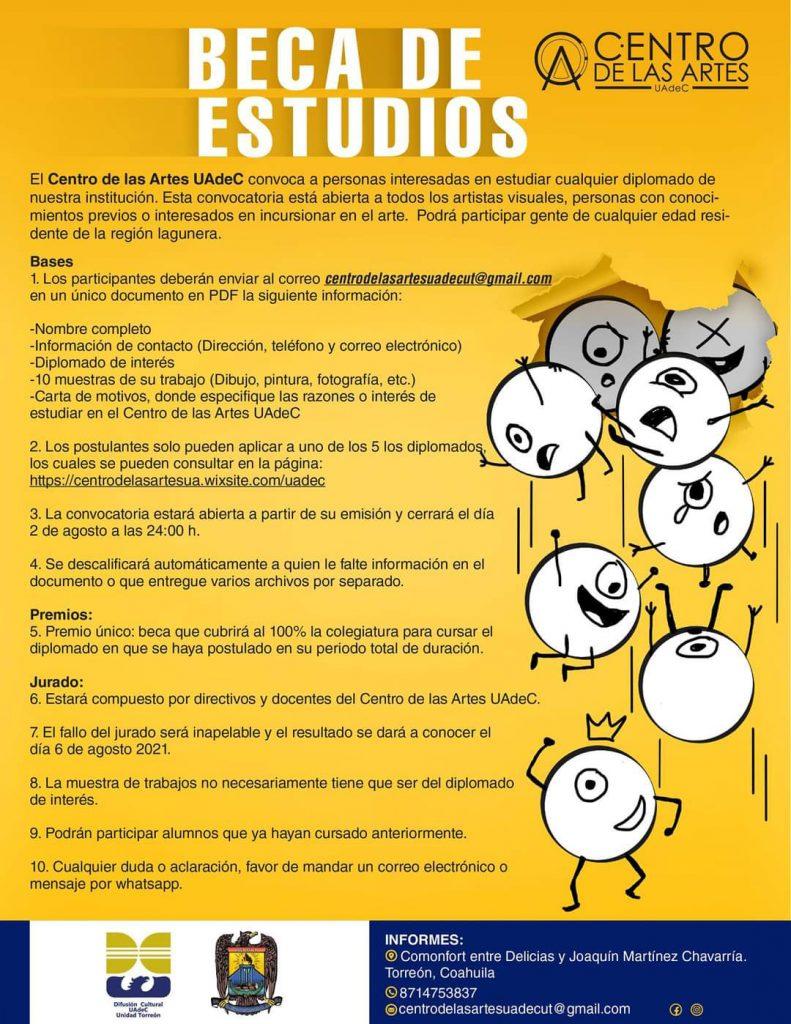 Convoca el Centro de las Artes de la UAdeC a postularse para obtener una beca de estudios